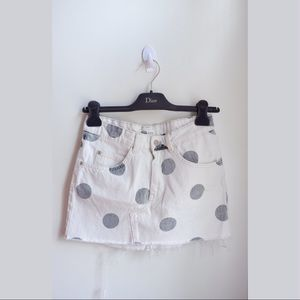 ZARA Off White Denim Mini Skirt